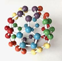 Buckyball 12 pentagon color variation, a Harper Toy Puzzle made in USA