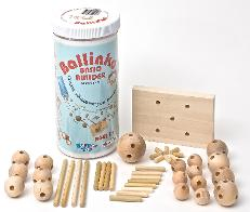 Basic builder wood building set showing all pieces
