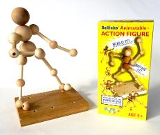 wood animatable Action figure shown with box